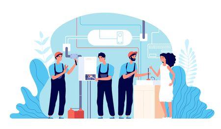 Service plombier. Travail plombiers aidant, instruments de fixation. Réparation de travaux ménagers, bricoleur et illustration vectorielle de chaudière cassée. Techniques de plomberie, personnage de plomberie