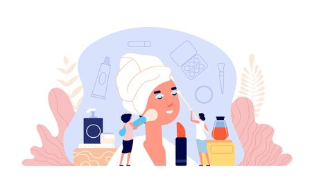Beauty salon. Parlor customer, women makeup workshop and beautician. Flat female products for skin or skincare consultation vector concept. Illustration makeup salon, beauty hairstyle and cosmetology Vektoros illusztráció