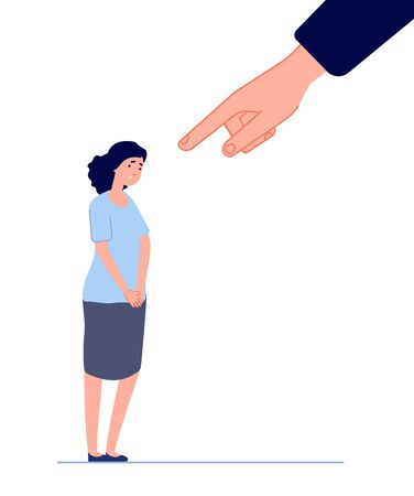 Victim blaming. Female fear, hand pointing to disgraced woman. Shame or anxiety, sad depressed crying girl. Bullying attack vector concept. Sad and depressed victim, shame woman illustration