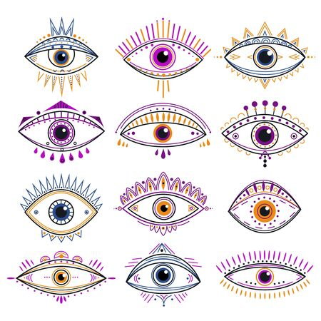 Eye of providence. Evil eyes, mystic esoteric symbols. Abstract occult signs design. Decorative alchemy and magic line tattoo vector icons. Esoteric amulet, providence mystic eye illustration