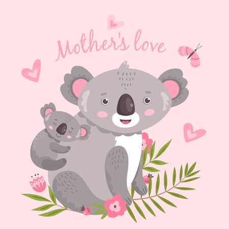 Cute koala. Animal mom hugging baby. Australia forest koalas hugs. Cute childish artwork, tendernesses cartoon print. Vector illustration. Koala baby and mother, family australia animal