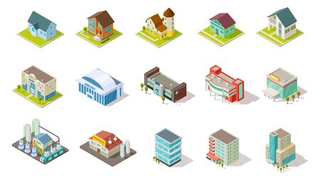 Isometric buildings. City urban infrastructure, residential, industrial and social buildings 3d vector set. Architecture residential building, house airport, infrastructure isometric illustration