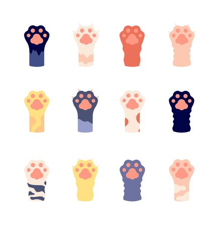 Cat foots. Animal paws close up. Flat wild kitty footprints with claws. Cute cartoon pet legs icons. Wild leopard or tiger foot vector set. Animal paw cat, kitten fur, leopard pattern illustration
