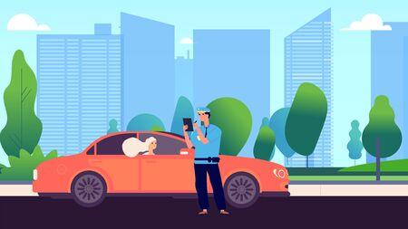 Policeman and female driver. Car inspector write fine to intruder. Speed traffic violation or wrong parking. Safety control admonition vector illustration. Policeman officer give fine to auto driver