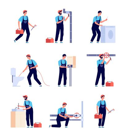 Plumbers. Fixing plumbing, house heating equipment repair and pipes. Water service installing and supply. Isolated handymans vector set. Repair service plumbing, handyman fix illustration