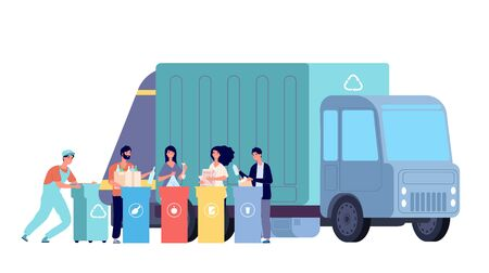 Garbage truck. Refuse recycling, rubbish worker and disposal containers. People sorting and throw waste. Vector recycle dumpster concept. Illustration container recycle, rubbish and waste collect 벡터 (일러스트)