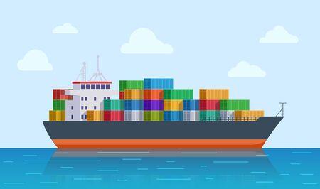 Cargo ship. Vessel port, export or import tanker shipping. International sea logistic. Marine transport and delivery vector illustration. Ship vessel, cargo industry transportation