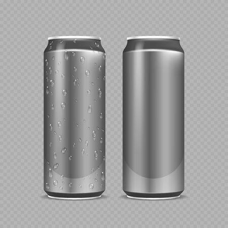Steel cans. Aluminium bottles for beer, lemonade or soda or energy drink. Metal package with water drops realistic vector mockup. Steel bottle beer or soda, water in aluminium silver can illustration Vecteurs