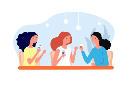Female friends drinking. Girls meeting, women drink coffee and talk. Friendly lunch in cafe bar, group people relaxed vector illustration. Female together table meeting in cafe, drink and talking