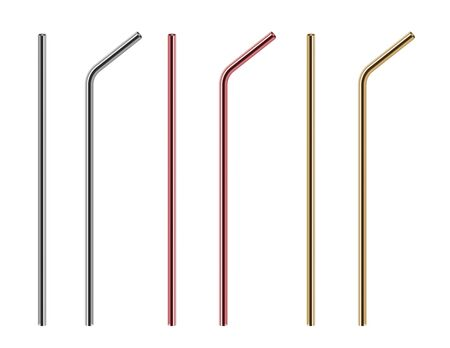 Metal straws. Reusable steel straw, stainless bars. Isolated realistic eco pipe for different drinks vector set. Straw metal reusable, tube steel pipe for drinking illustration