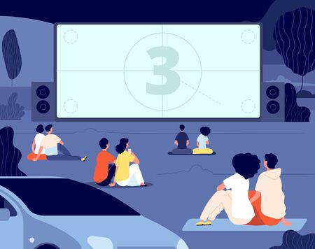Open air cinema. Outdoor relax, car movie night. Friends rest backyard with snacks, screen. Dating couples watch movie vector illustration. Cinema movie film, outdoor entertainment Vector Illustratie