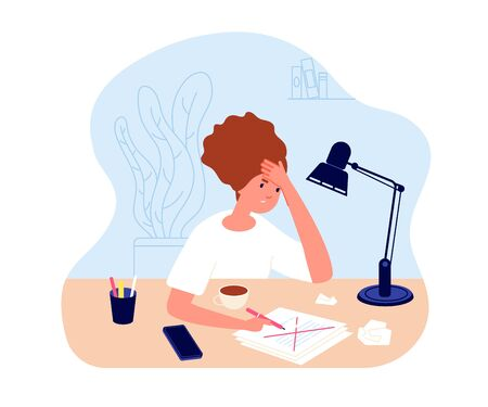 Creative crisis. Woman doubt feel. Confusion mental feel, inspiration problems. Manager or writer working. Student depression vector concept. Illustration crisis inspiration workplace, thoughtfull Illusztráció
