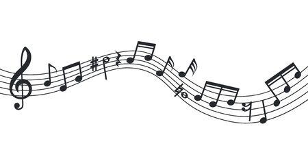 Onda della nota di musica. Sottofondo di note, poster musicale. Pentagramma astratto isolato, chiave di violino e icone del suono. Illustrazione della colonna sonora di vettore. Curva della nota musicale, sinfonia della decorazione della linea del musicista Vettoriali