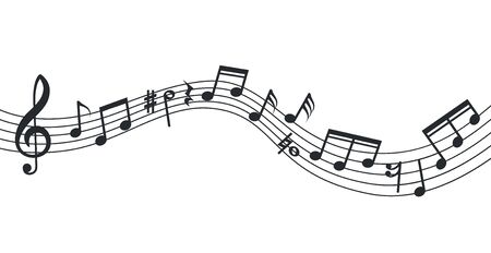 Vague de note de musique. Fond de notes, affiche musicale. Icônes abstraites isolées de la portée, de la clé de sol et du son. Illustration vectorielle de bande son. Courbe de note de musique, symphonie de décoration de ligne de musicien Vecteurs