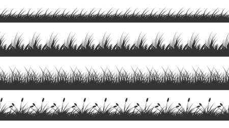 Grass border. Planted meadow silhouette background. Isolated horizontal lawn dividers. Growth plants vector seamless pattern. Silhouette border grass meadow, nature summer pattern horizon illustrarion Illustration