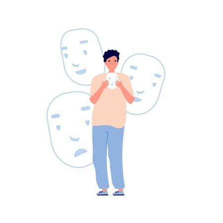 Identity problems. Bipolar disorder, fake faces and emotions. Psychology, false behavior or deceiver. Man holding masks, theater and film actor vector illustration. Mental problem schizophrenia