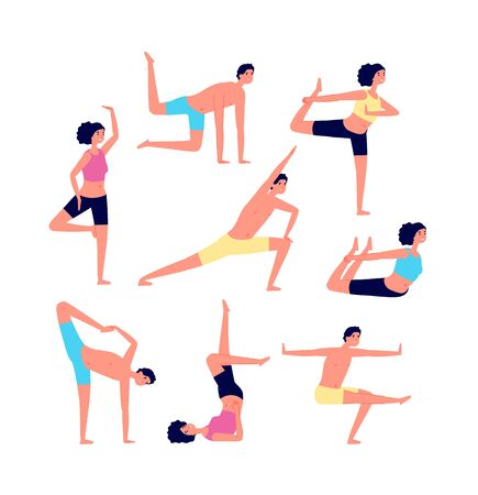 Yoga exercises. Adult exercising, fitness people. Male female stretching or pilates poses. Training for overweight, sport group vector set. Illustration yoga exercise, fitness healthy, health workout 向量圖像