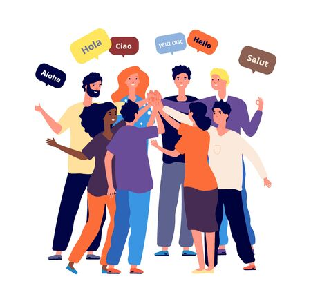 Meeting international friends. Students from different countries together greet native language. Worldwide company employees business meet vector illustration. Meeting international group partner Vettoriali