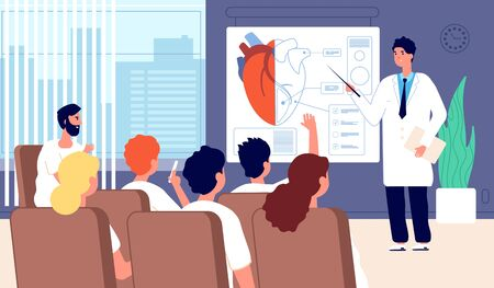 Medical conference. Doctor showing heart, physician training. Lecture, students classroom seminar. Cardiac surgery meeting vector concept. Illustration doctor lecture, healthcare organ heart