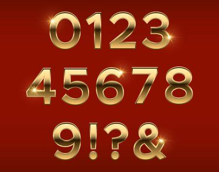 Golden numbers. Gold 3d figures, stylish celebrating font. Anniversary metal elements vector set. Golden number metallic, typeset numeral glossy illustration