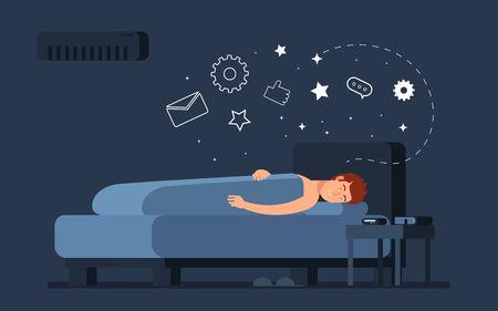 Sleeping man concept. Guy bed, night dreams. Male sleep at home in bedroom vector illustration. Good night dream, sleep man rest