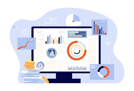 Financial report and accounting. Audit, investment success or tax reports. Computer screen, charts and graphs. Account business programm vector illustration. Analysis audit management infographic