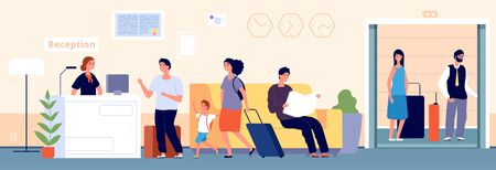 Hotel reception. Check desk, recreation people with suitcase. Hostel entrance, accommodation or registration service vector illustration. Receptionist desk hotel, reception lobby service