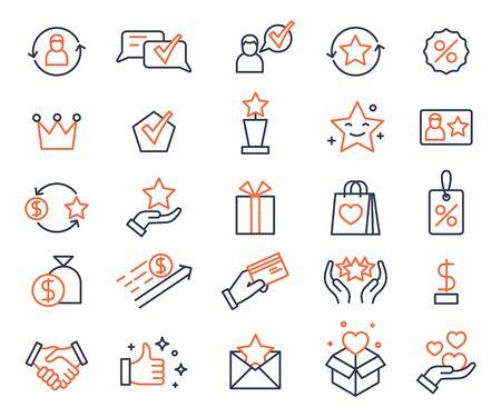 Loyalty program. Shopping bonus system icons. Gifts and rewards for customers, lottery prizes. Exchanging card, marketing vector symbols set. Program bonus, reward and loyalty collect illustration