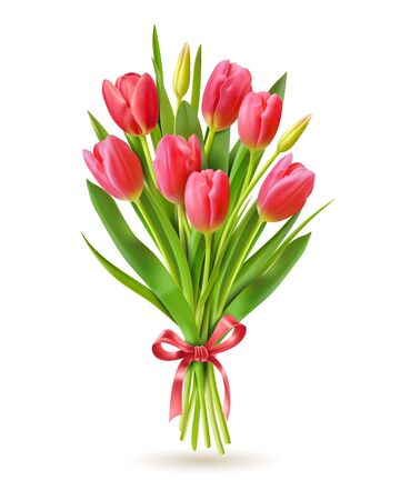 Tulips bouquet. Realistic 3d spring holland flowers for international woman day 8 march, mother and victory day greeting card vector image. Bouquet tulip, floral flower realistic illustration