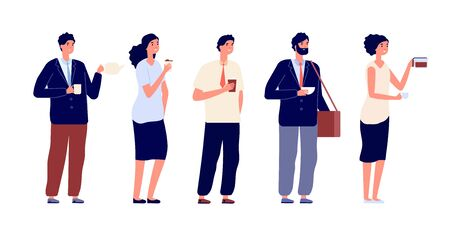 Office coffee break. Business persons, meeting with drinks. Businessman, team having lunch. Isolated people with hot beverages vector set. Lunch office meeting, break drink woman and man illuistration