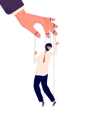 Puppet businessman. Manipulating human, hand control marionette. Politics, dictator manipulator concept. Vector business power illustration. Business puppet, businessman control leadership by string
