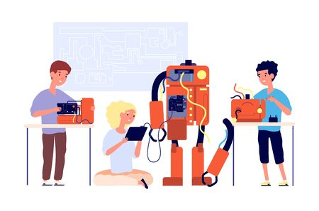 Robotics. Robots presentation, school engineering technology. Children showing cyborg. Young engineer education. Kids project vector concept. Education robot programming, study illustration Foto de archivo - 142862443