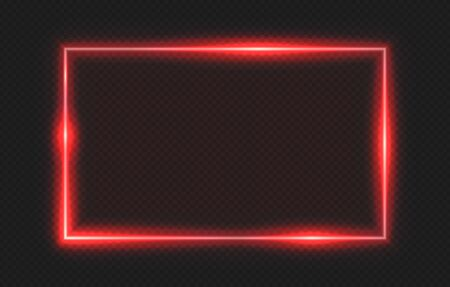 Red neon frame. Lighting banner on transparent background. Isolated glow border vector illustration. Border light glowing, bright frame red