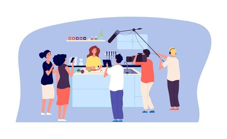 Culinary workshop. Cooking TV show, live streaming. Chef blogger in kitchen, fans and movie makers team vector illustration. Cooking media culinary program, professional television studio