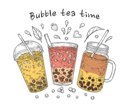 Bubble tea poster. Brown pearl coffee, famous sweet drinks. Popular asian milk tapioca drinking card. Fresh summer food vector illustration. Tea beverage bubble pearl, cocktail sweet boba