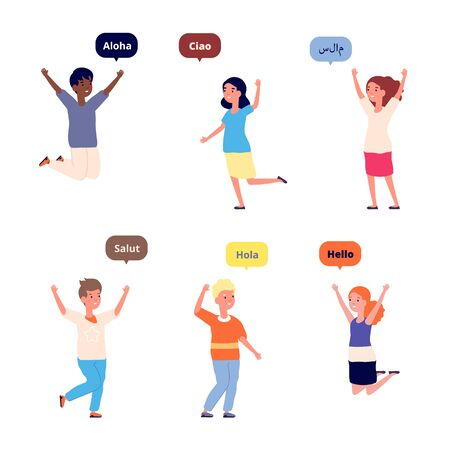 International hello. Friendly children, greetings on foreign language. Isolated multilingual kids conversation. Different multicultural people vector. International children, school kids illustration Foto de archivo - 142862447