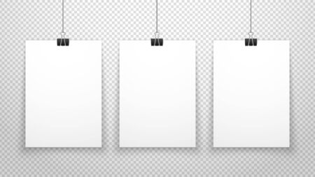 Paper poster. White blanks sheets hanging on wall. Three posters template isolated on transparent background. Vector clean mockup. Blank paper poster, showing collection gallery mockup illustration Ilustración de vector