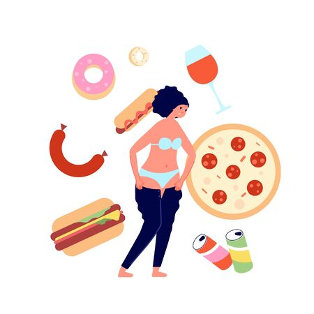 Overeating. Fast food addiction, nutrition problems consequences. Burger and sweets unhealthy dishes. Female overweight, obesity vector concept. Illustration burger food, unhealthy and fatty