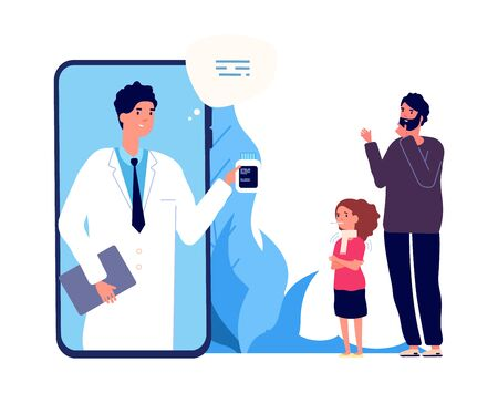 Doctor online. Sick girl, father and nurse by video link. Remote treatment, medical consultation vector illustration. Medicine online, doctor medical health, consultation smartphone