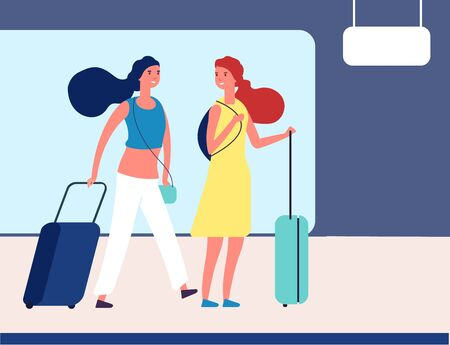 Girls with suitcases. Young travellers in airport or bus station. Female passengers with luggage on station waiting transport vector illustration. Woman travel, wait bus near terminal