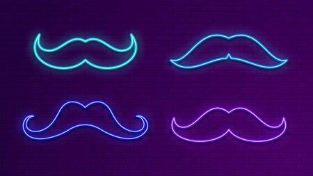 Neon bright signboards. Blue light mustache. Glow male symbol for bar, dance club, shop. Electric outside banner vector set. Illustration mustache neon, hipster moustache, gentleman contour element