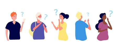 Thoughtful people. Curious girls, young thinking characters. Man has question, contemplative or pensive person. Problem solution vector illustration. Thinking human, adult think idea and question