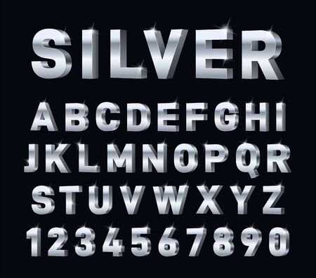 Police d'argent. alphabet chromé en acier 3D. Lettres et chiffres en métal, décorations typographiques en platine métallique. Symboles vectoriels brillants modernes. Caractère en aluminium d'illustration, fonte de platine en métal d'acier