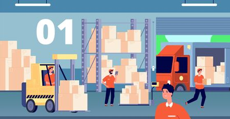 Warehouse interior. Large storage, people inside storehouse. Cargo pallet, workers and loader service. Logistic industry vector illustration. Storage and warehouse, transportation business