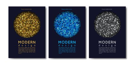 Modern cards design. Abstract shining invitation templates with gold and silver elements. Metallic chain mail or disco ball vector flyers. Glitter sparkle, luxury effect, glamour glowing illustration Illustration