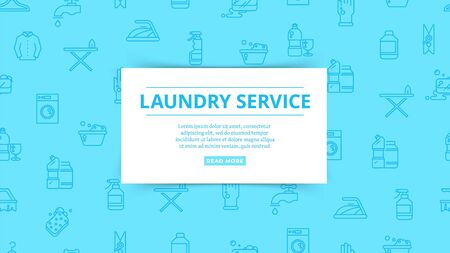 Laundry service. Household service, washing, cleaning pattern. Clean things, homework vector icons. Laundry service, household equipment and hygiene cleaning illustration Vectores