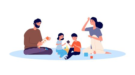 Parenthood concept. Happy family playing. Mother father son and daughter vector characters. Mother and father, daughter and son illustration