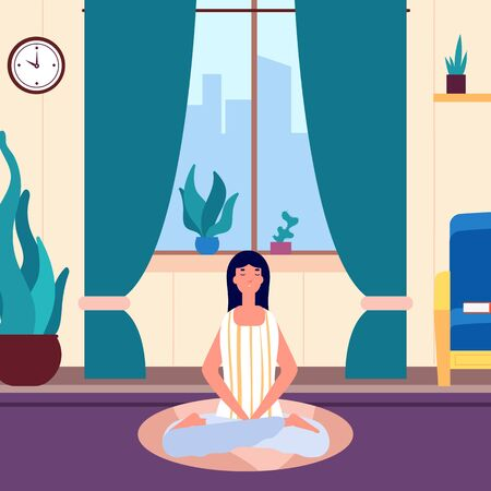 Meditation woman. Girl keep calm in living room. Yoga workout, morning or evening relax. Female saving balance vector illustration. Girl yoga health and workout, female exercise meditate 向量圖像