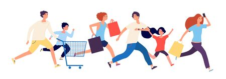 Shopping people. Man woman kids run to store. Sale time, black friday or discount season. Customers with bags and market basket vector illustration. Shopper customer run to mall to buying