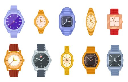 Classic watch. Wrist watches, women men clock. Isolated fashion expensive female male timer chronograph. Flat unisex wristwatch vector set. Strap clock, fashionable collection wristwatch illustration